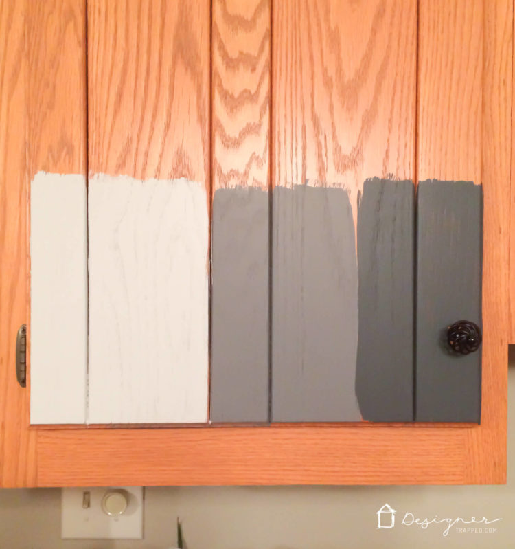 Should I Paint My Kitchen Cabinets? | DesignerTrapped.com on black faux painted kitchen cabinets, paint used for cabinets, blue grey painted kitchen cabinets, can you paint white kitchen cabinets, should i paint white kitchen cabinets, gray paint oak kitchen cabinets,