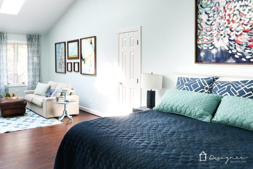Come check out our fireplace design for our master bedroom! Yep, you can add an electric fireplace to pretty much any room in your house. No chimney needed!