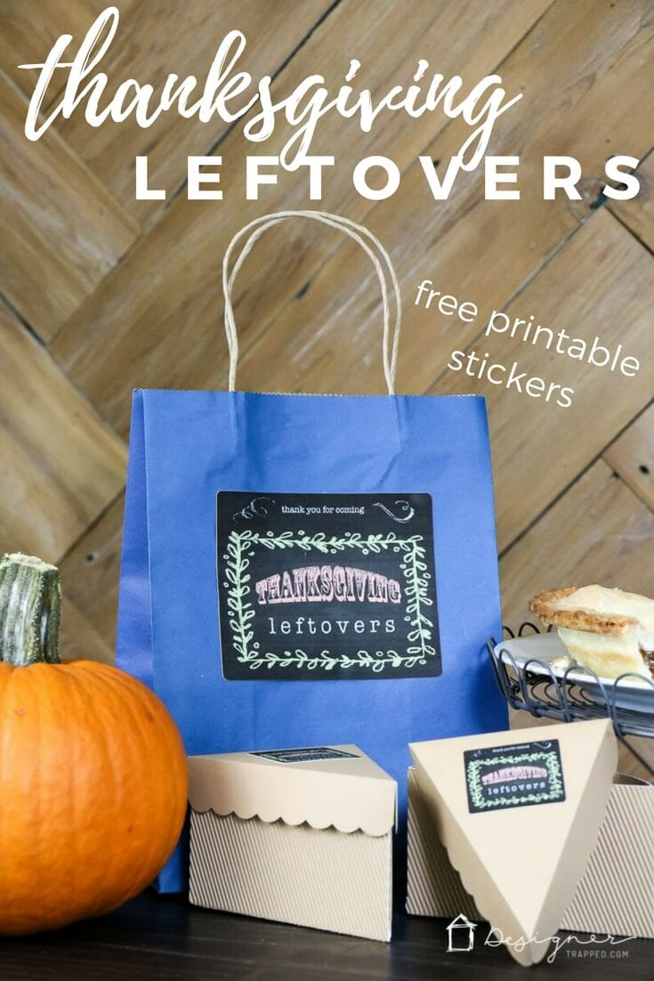 These DIY Thanksgiving leftovers containers are so cute that your guests will happily take leftovers with them! Grab free printable sticker template to make your own Thanksgiving leftover containers this year!