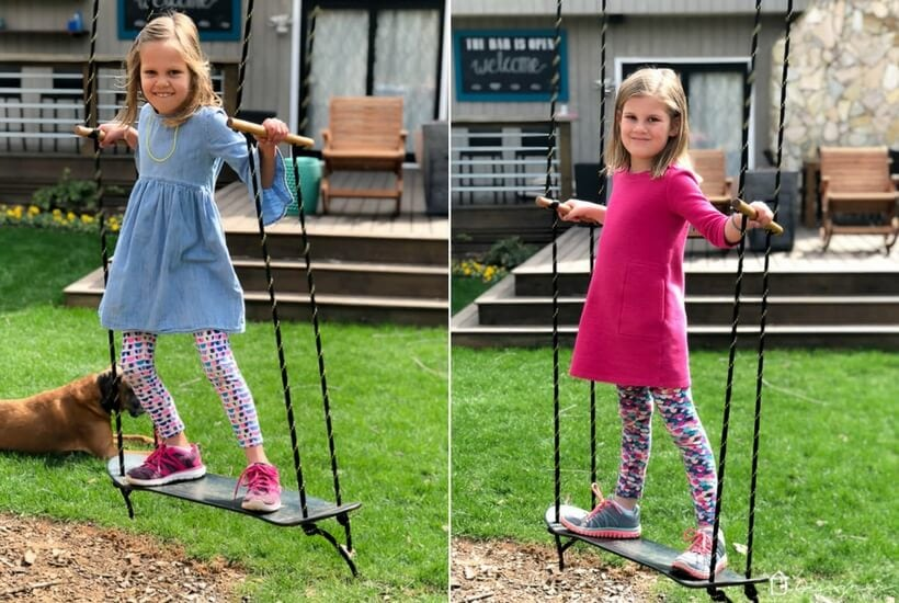 This DIY swing is a perfect addition to any back yard. It's easy to make and can be used as a standing swing or a sitting swing. All you need is a tree to attach it to! Make one for your kids with this easy tutorial.