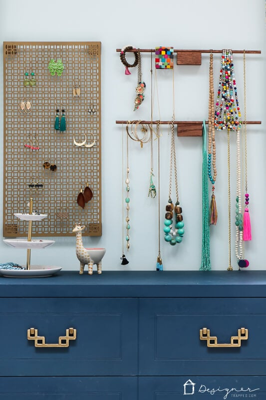 hanging jewelry organizer DIY