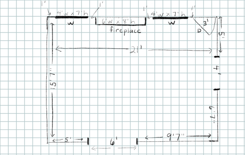 simple space plan on graph paper