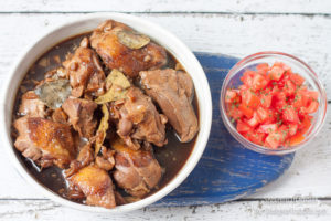 chicken adobo with fresh tomatoes