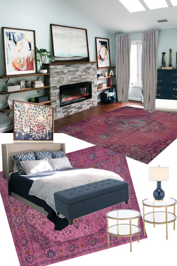 We are FINALLY taking the time to finish up our master bedroom. Come check out our colorful master bedroom design plans. I am so excited to get this done! #masterbedroom #masterbedroomdesign #bedroomdesign #bedroomideas #interiordesign #pinkrug