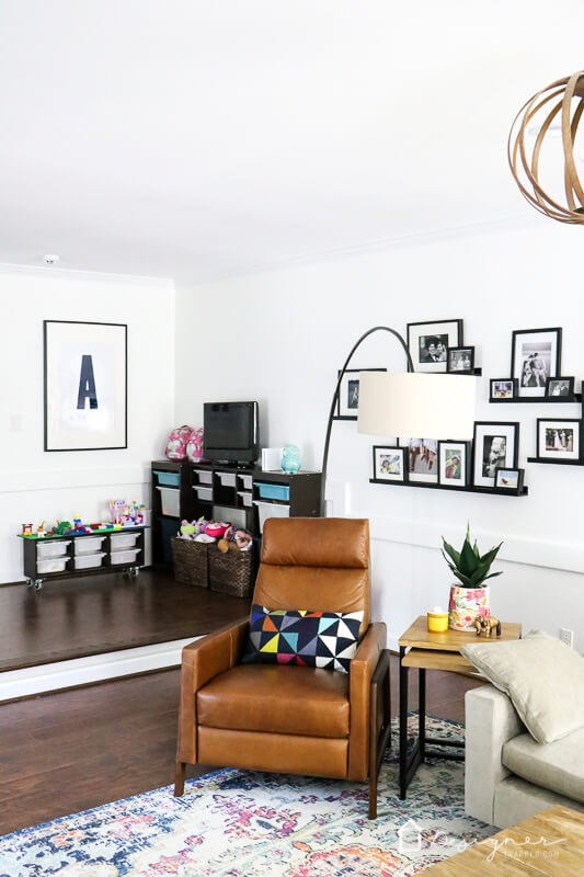 colorful family room with kids' play area