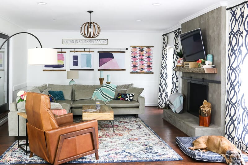 West Elm colorful family room