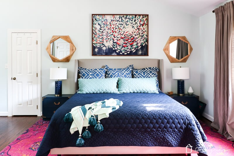 Navy And Pink Bedroom