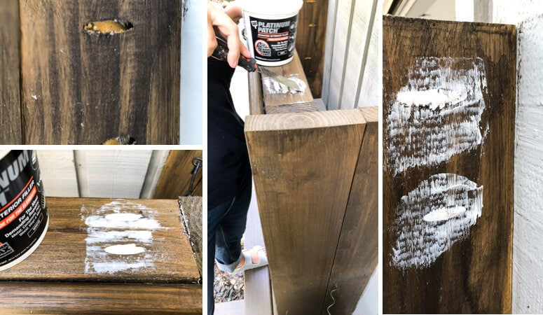 DAP Platinum Patch to fill holes on utility box cover