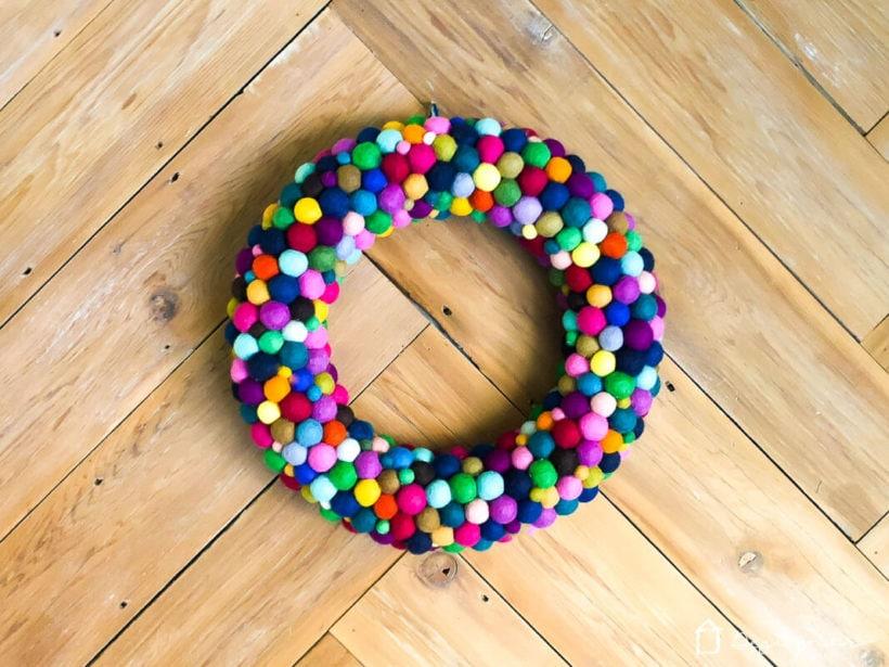 diy wreath made from felt balls