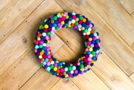 Colorful DIY Wreath Made from Felt Balls