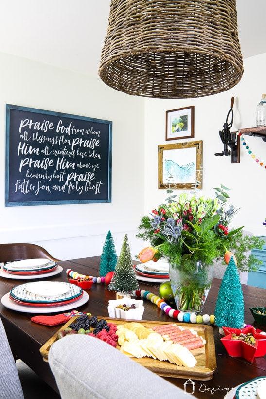 colorful Christmas table