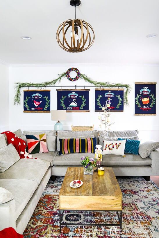 colorful living room Christmas decor