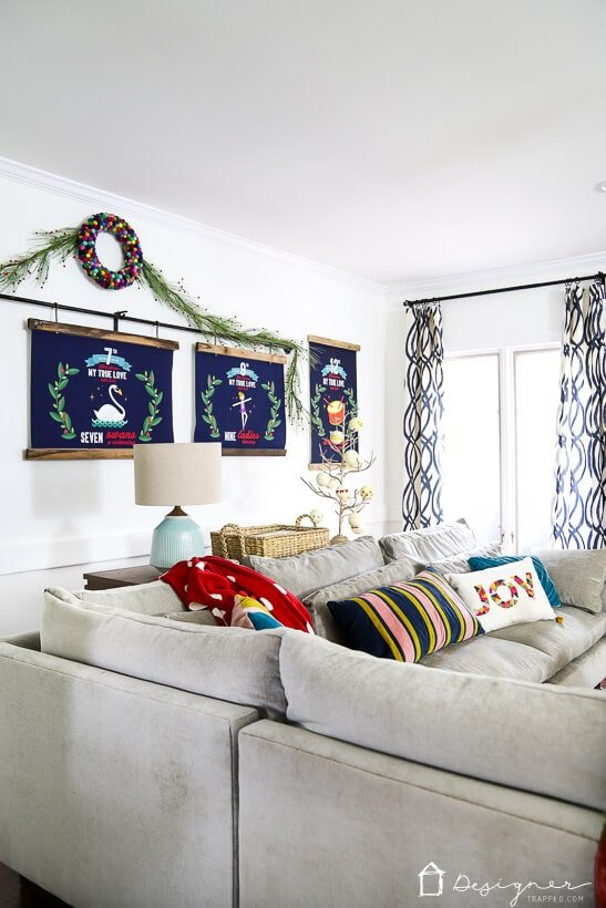 colorful Christmas decor in living room