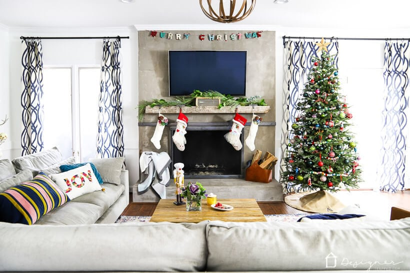 colorful Christmas decor in living