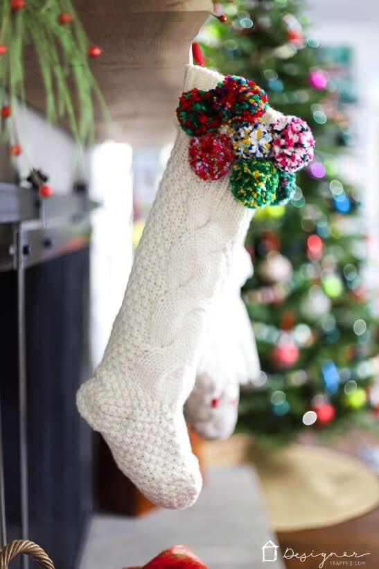Christmas stocking with pompom