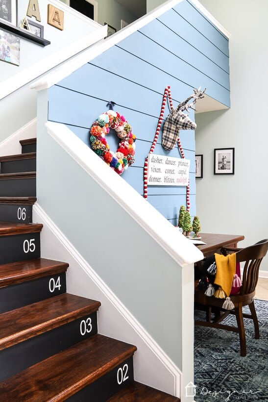 colorful Christmas decor in entryway