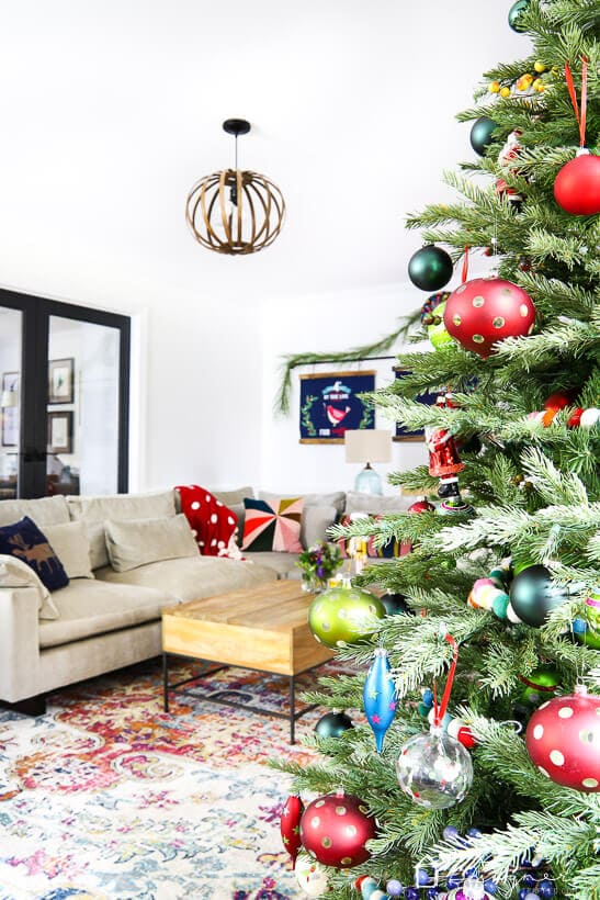 Christmas tree in colorful living room