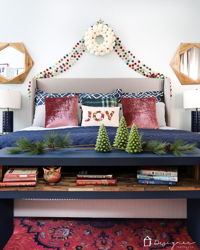 colorful Christmas decor in bedroom