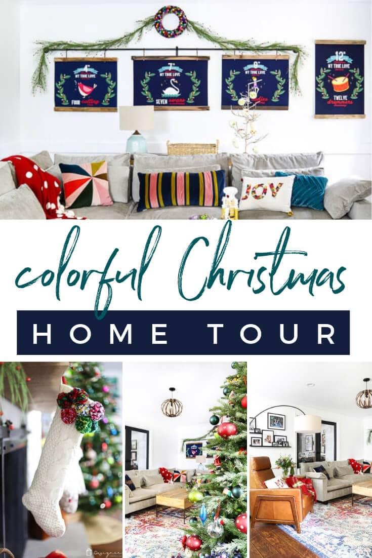 colorful Christmas home tour