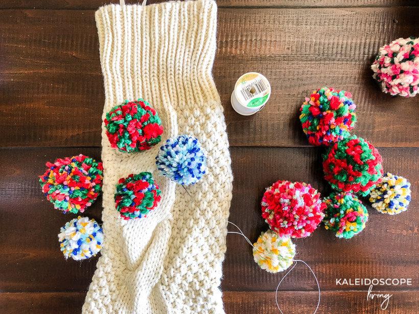 creating DIY pom pom stocking