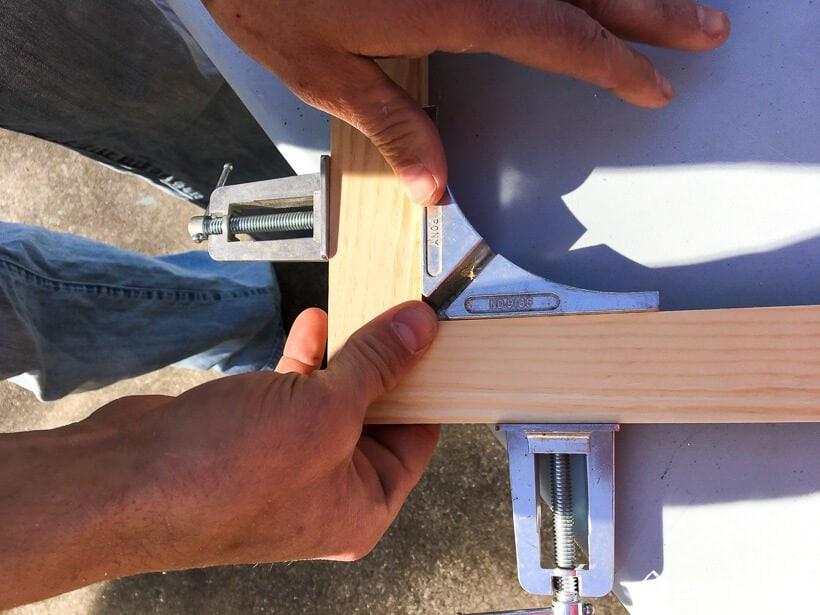 wood frame corner assembly